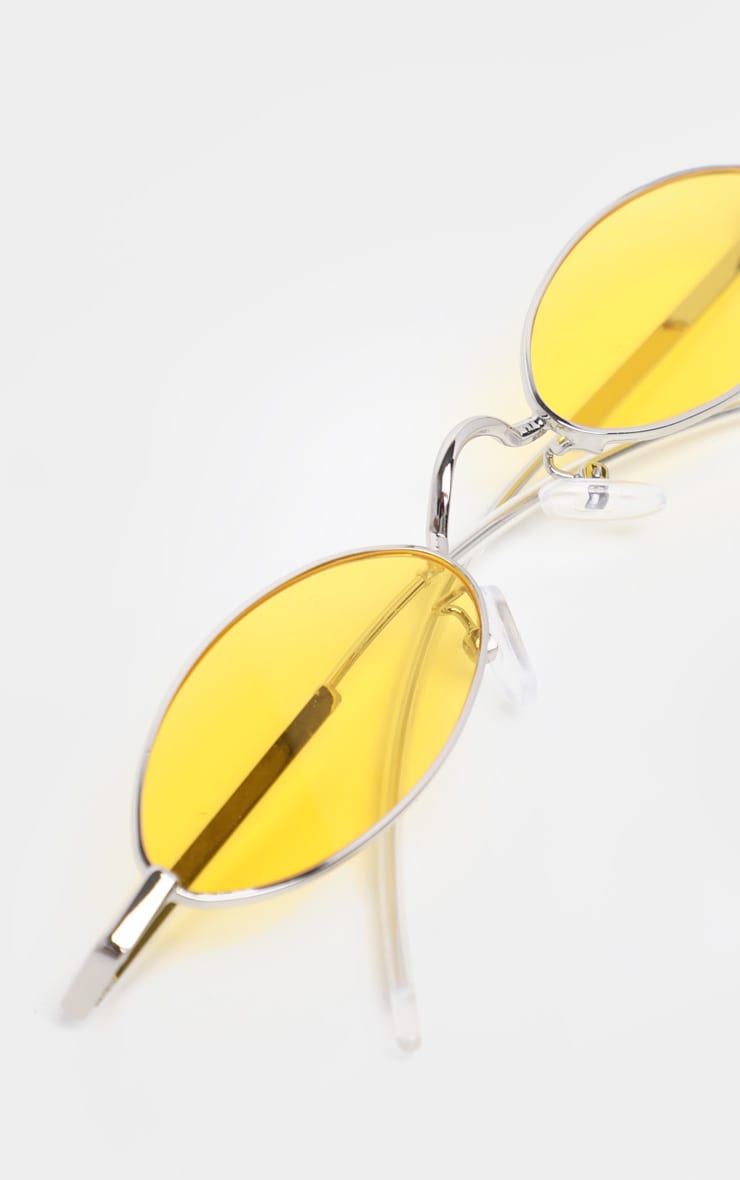 Yellow  Slim Metal Frame Oval Sunglasses 4