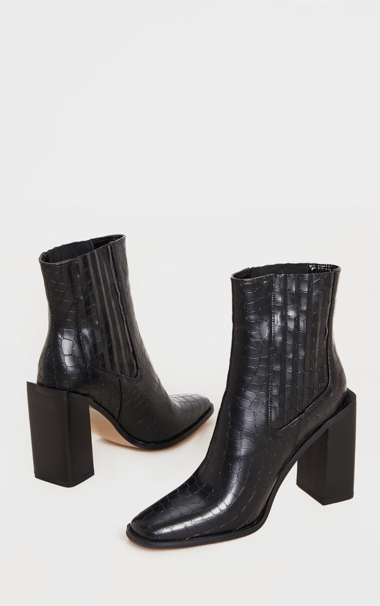 Black Snake Block Heel Square Toe Western Boot 3