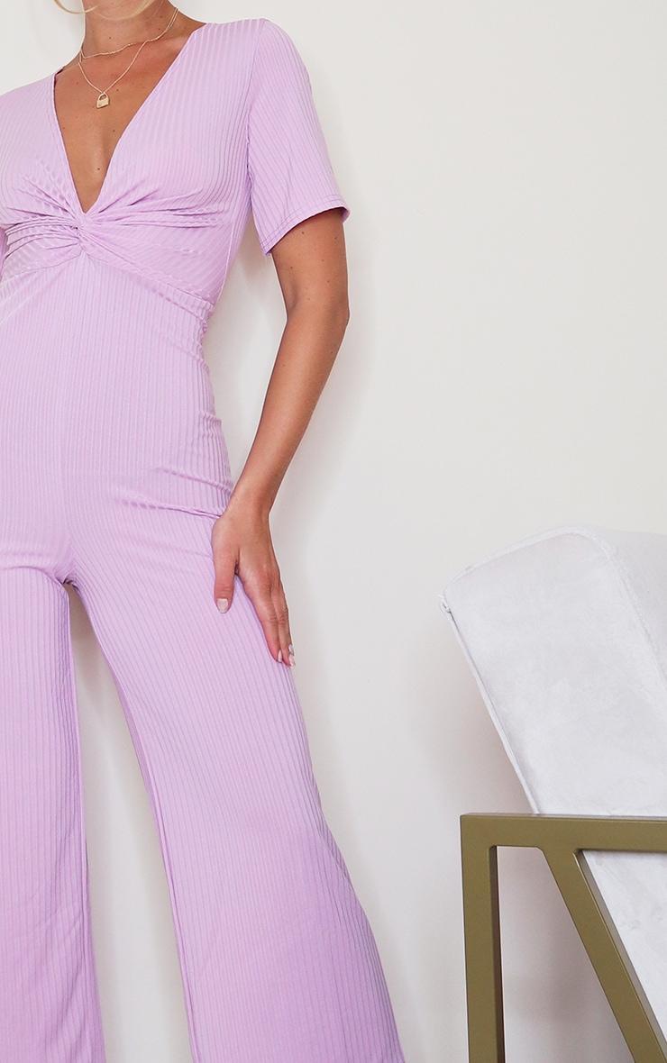 Lilac Ribbed Twist Detail Culotte Jumpsuit 4