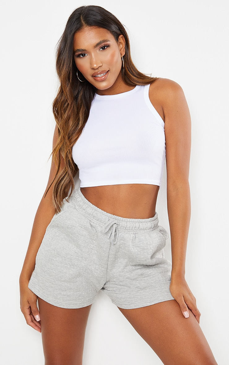 Grey Quilted Longline Shorts 1