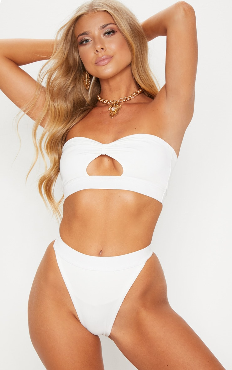 White Elasticated Bow Bikini Top 1