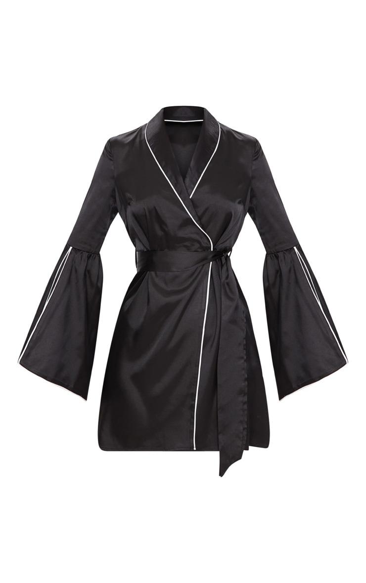 Black Satin Flare Sleeve Binding Detail Blazer Dress 3