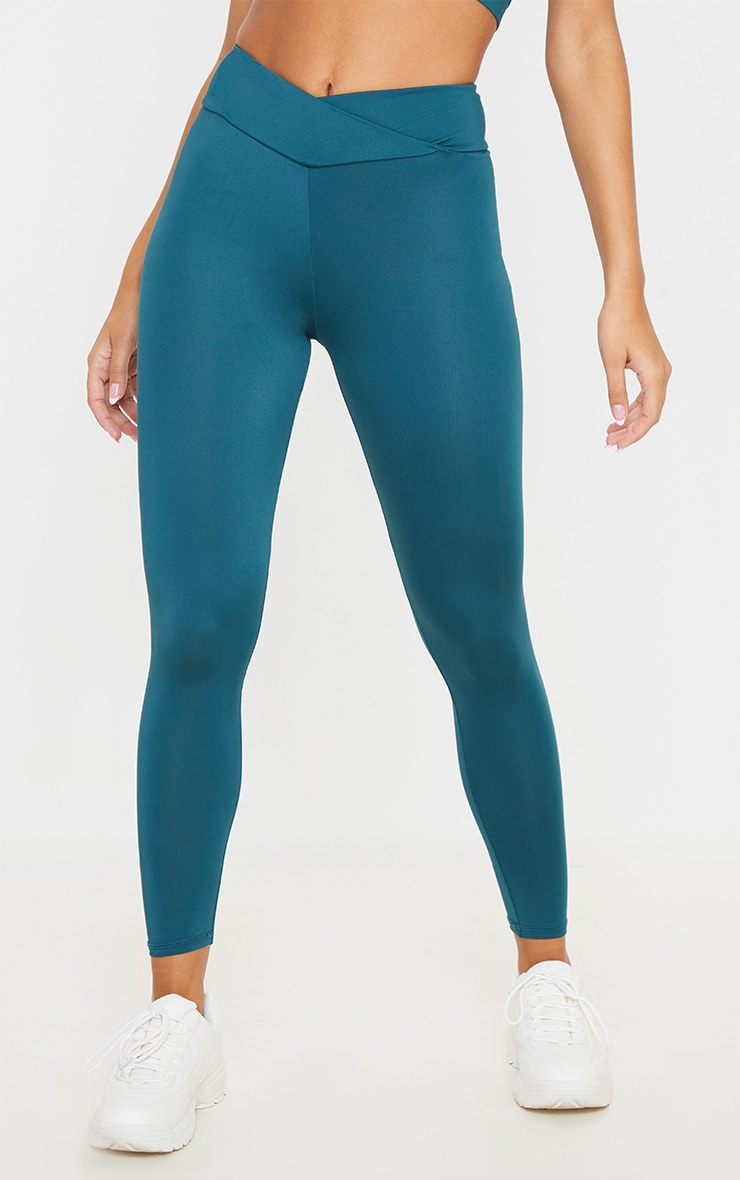 Emerald Green Mid Rise Gym Leggings 2