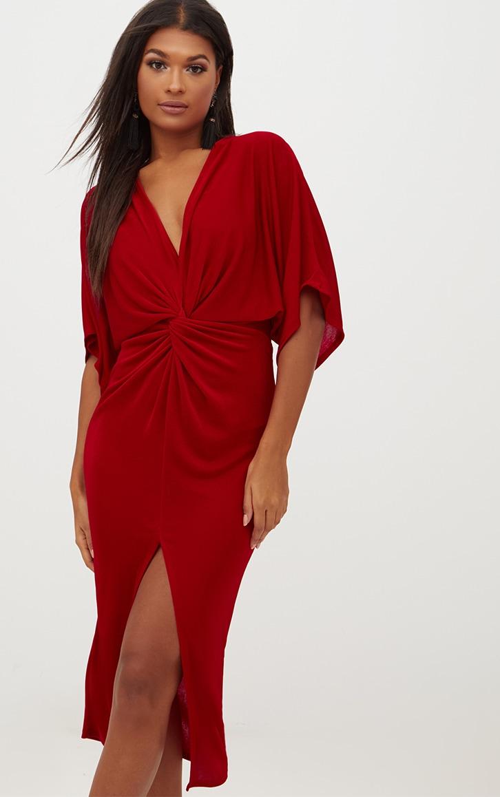 dbc1d9ab2d Red Slinky Twist Front Kimono Sleeve Midi Dress image 1