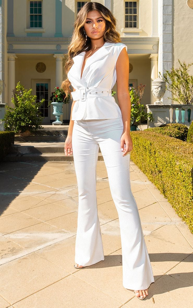 White Peplum Belt Detail Jumpsuit 1