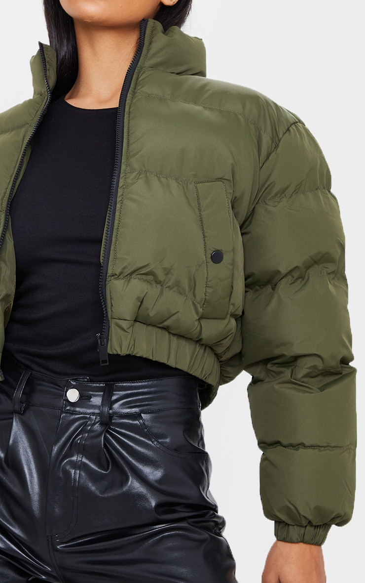 Khaki Cropped Bubble Zip Detail Puffer Jacket 4