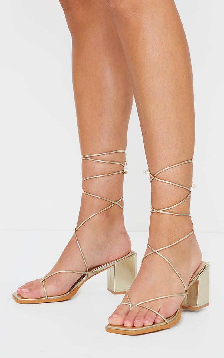 Gold Square Block Heel Strappy Toe Thong Sandals 1