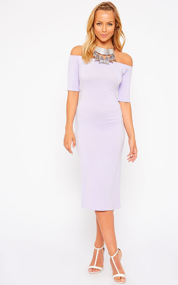 Roxie Lilac Bardot Midi Dress 1