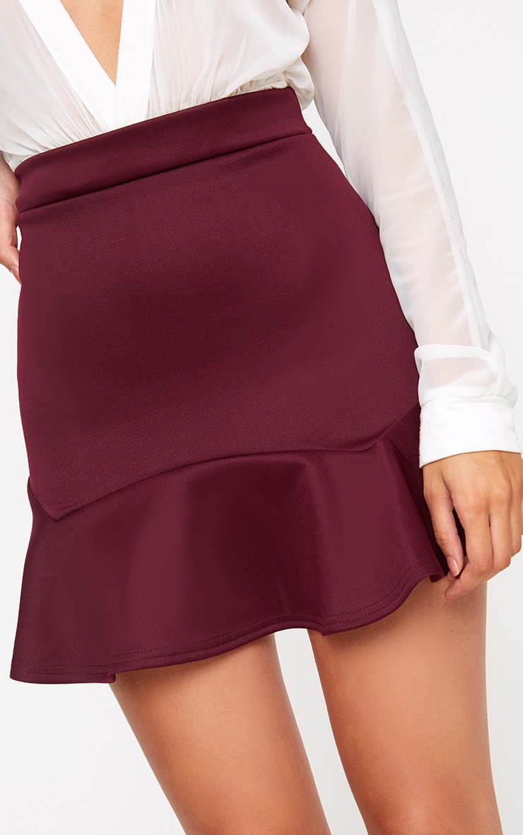 Burgundy Flippy Hem Mini Skirt 6