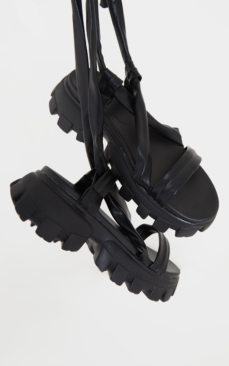 Black Extreme Cleated Sole Lace Up Ankle Tie Sports Sandals 4