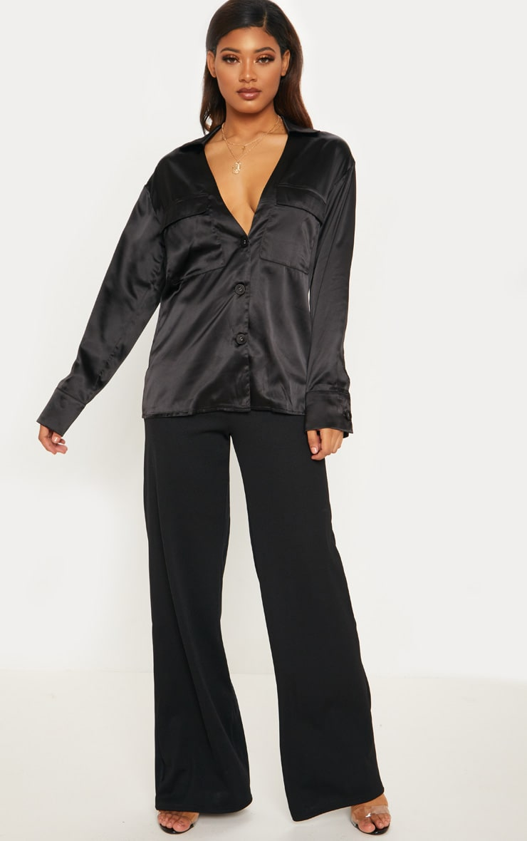 Tall Black Plunge Pocket Detail Blouse 5