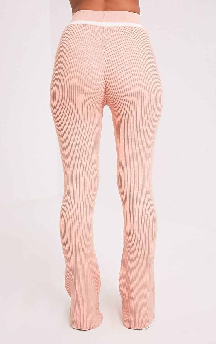 Sufiya Nude Colour Block Knit Ribbed Trousers 5
