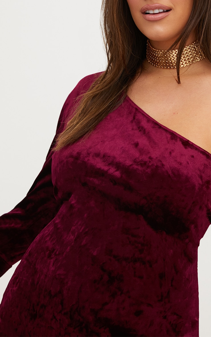 Plus Burgundy Crushed Velvet One Shoulder Bodycon Dress 5