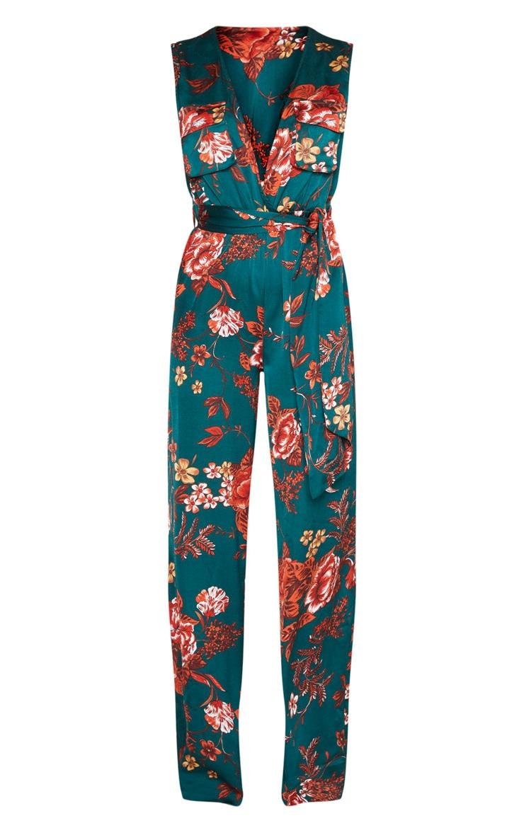 Emerald Green Floral Print Sleeveless Tie Waist Jumpsuit 3