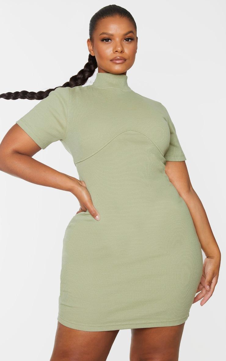 Plus Sage Green Thick Rib Bust Detail Bodycon Dress 3