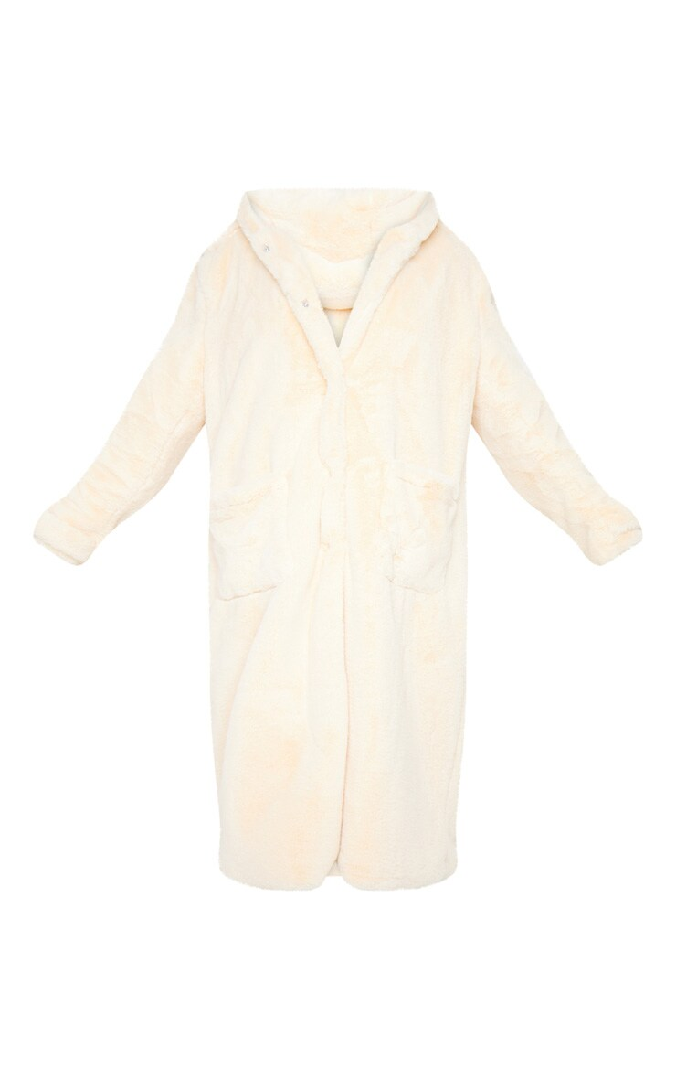 Beige Hooded Faux Fur Military Coat 5