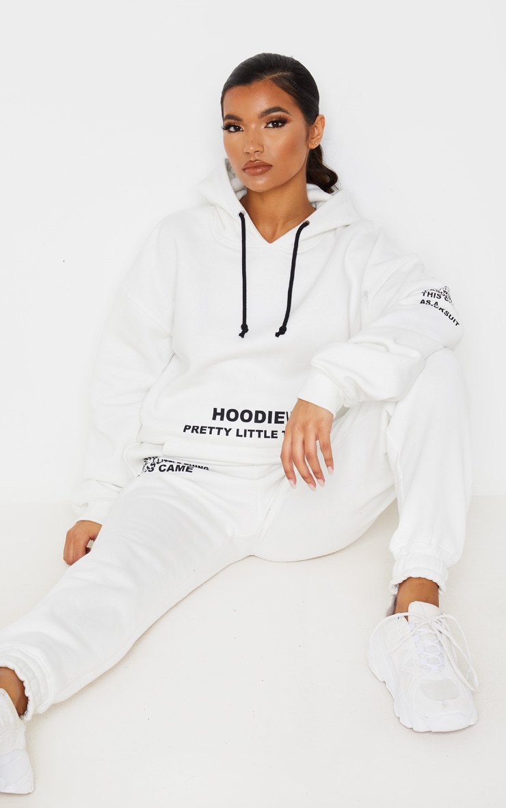 PRETTYLITTLETHING Cream Oversized Slogan Print Pocket Front Hoodie 4