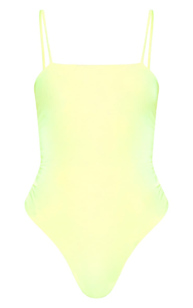 Neon Yellow Straight Neck Cami Bodysuit 3