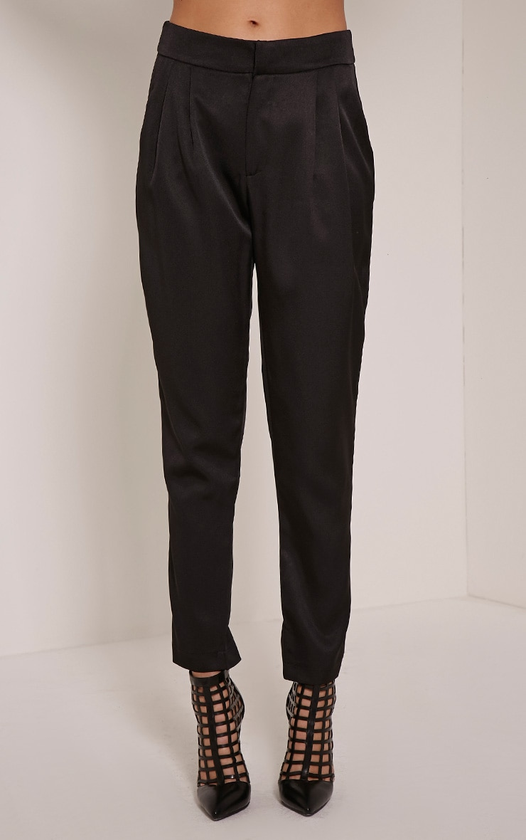 Floss Black High Waisted Tapered Trousers 2