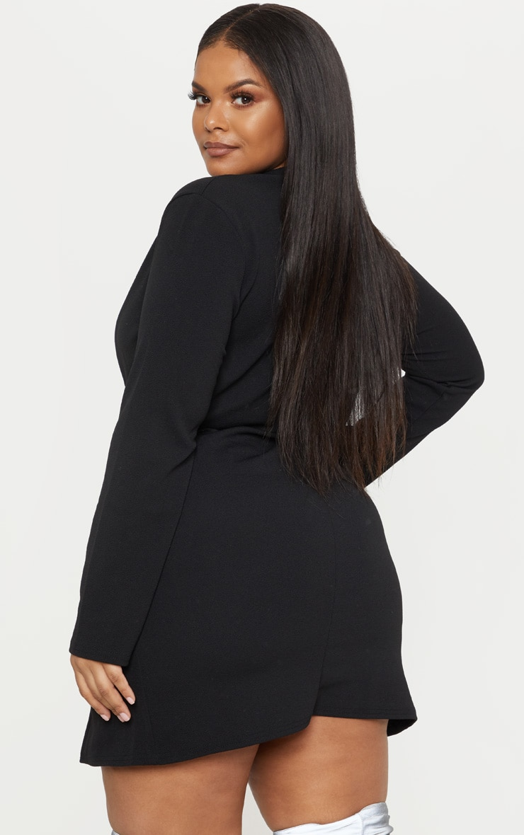 Plus Black Button Detail Blazer Dress 2