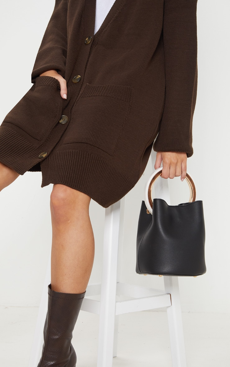Black Resin And Wood Bucket Grab Bag