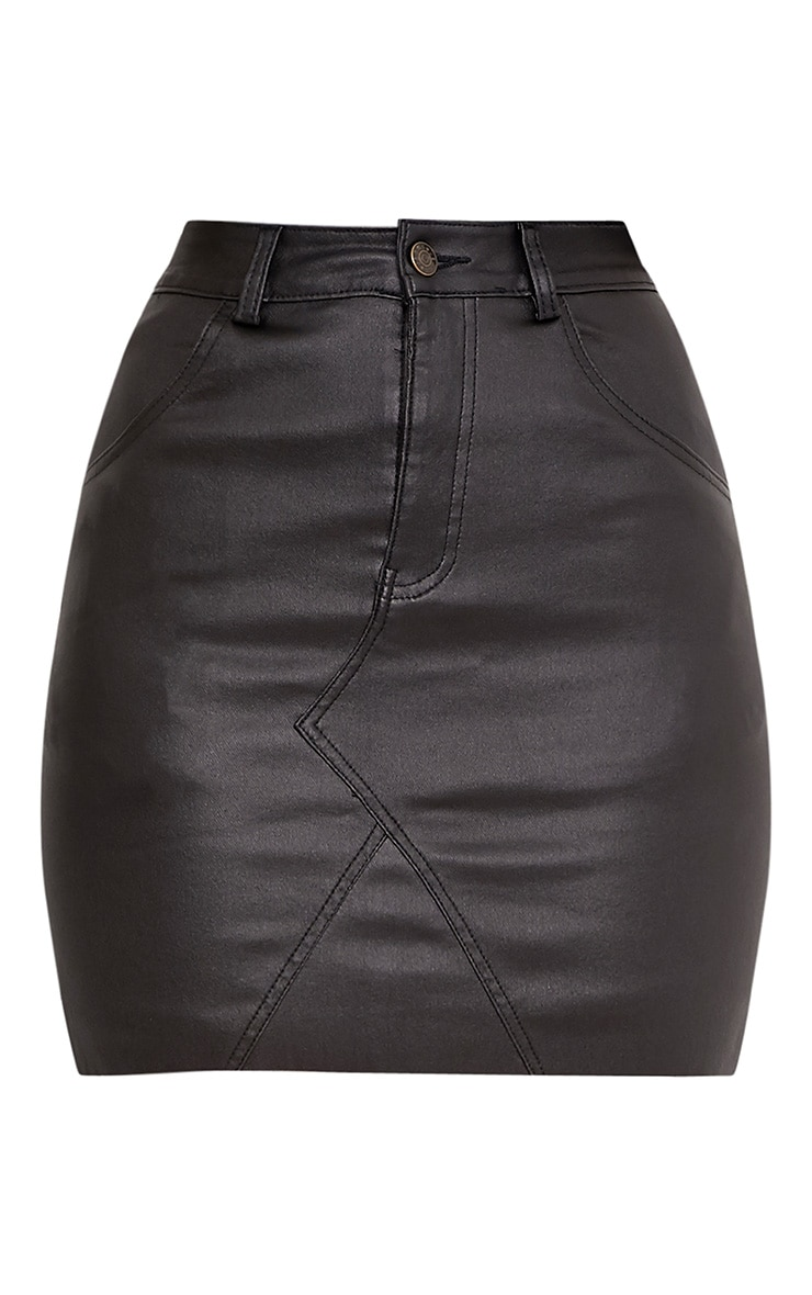 Eviane Black Coated Denim Skirt 3