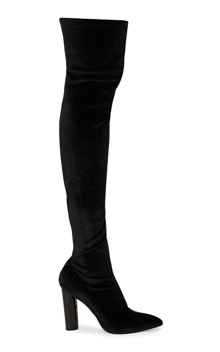 Black Velvet Thigh High Boot 3