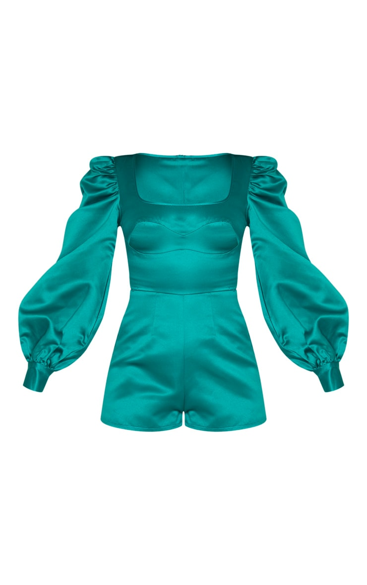 Emerald Green Bonded Satin Bust Detail Playsuit 4