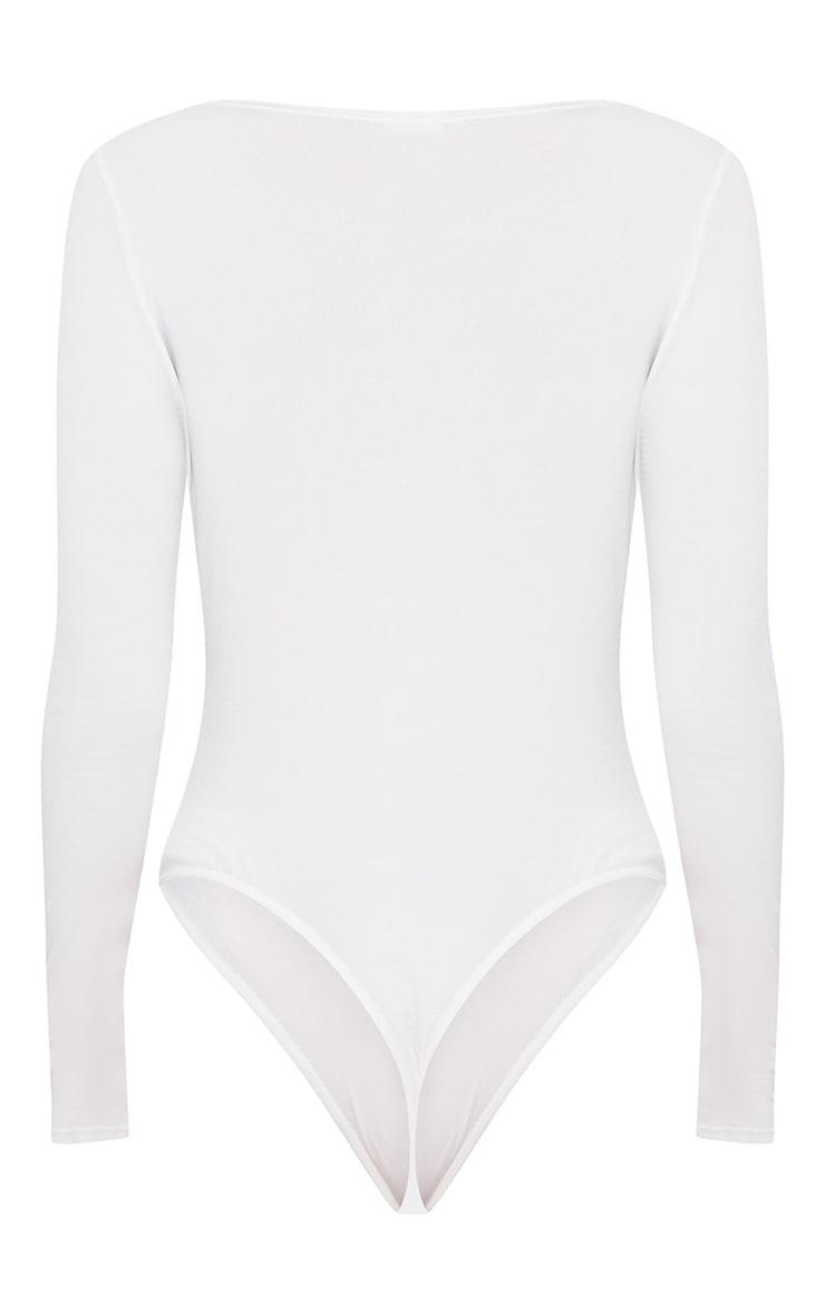 White Slinky Lace Trim Plunge Thong Bodysuit 4
