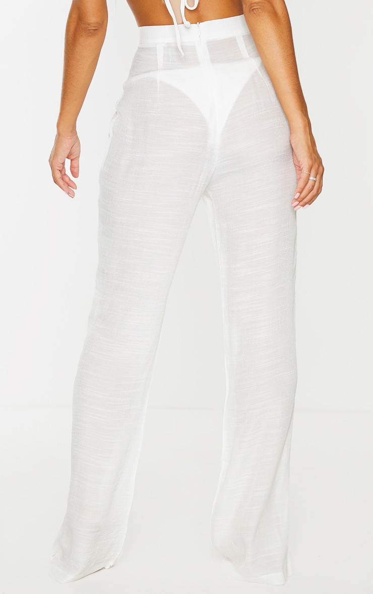 White Wide Leg Linen Look Beach Pants 3