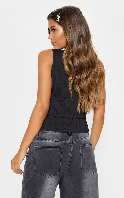 Black Ruched Frill Sleeveless Crop Top