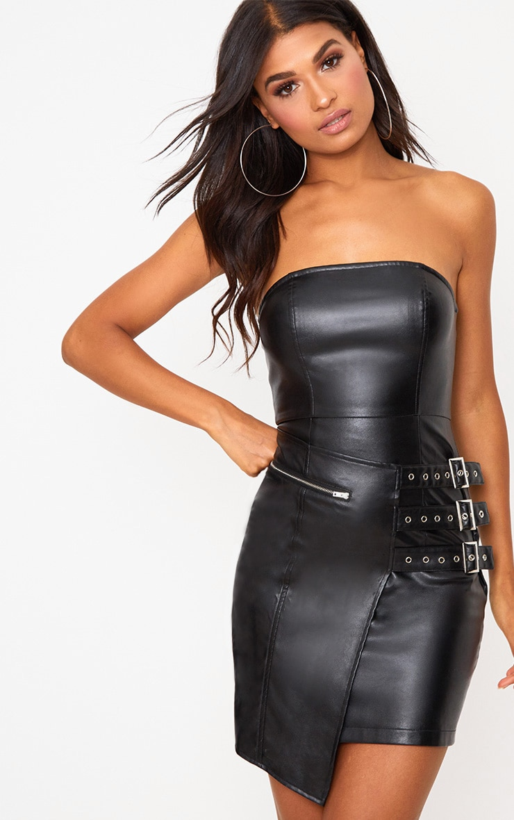 Black Faux Leather Buckle Detail Bandeau Bodycon Dress 1