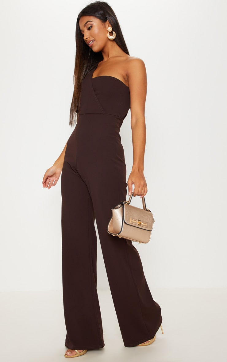 5fb31e19b54c Chocolate Drape One Shoulder Jumpsuit image 1