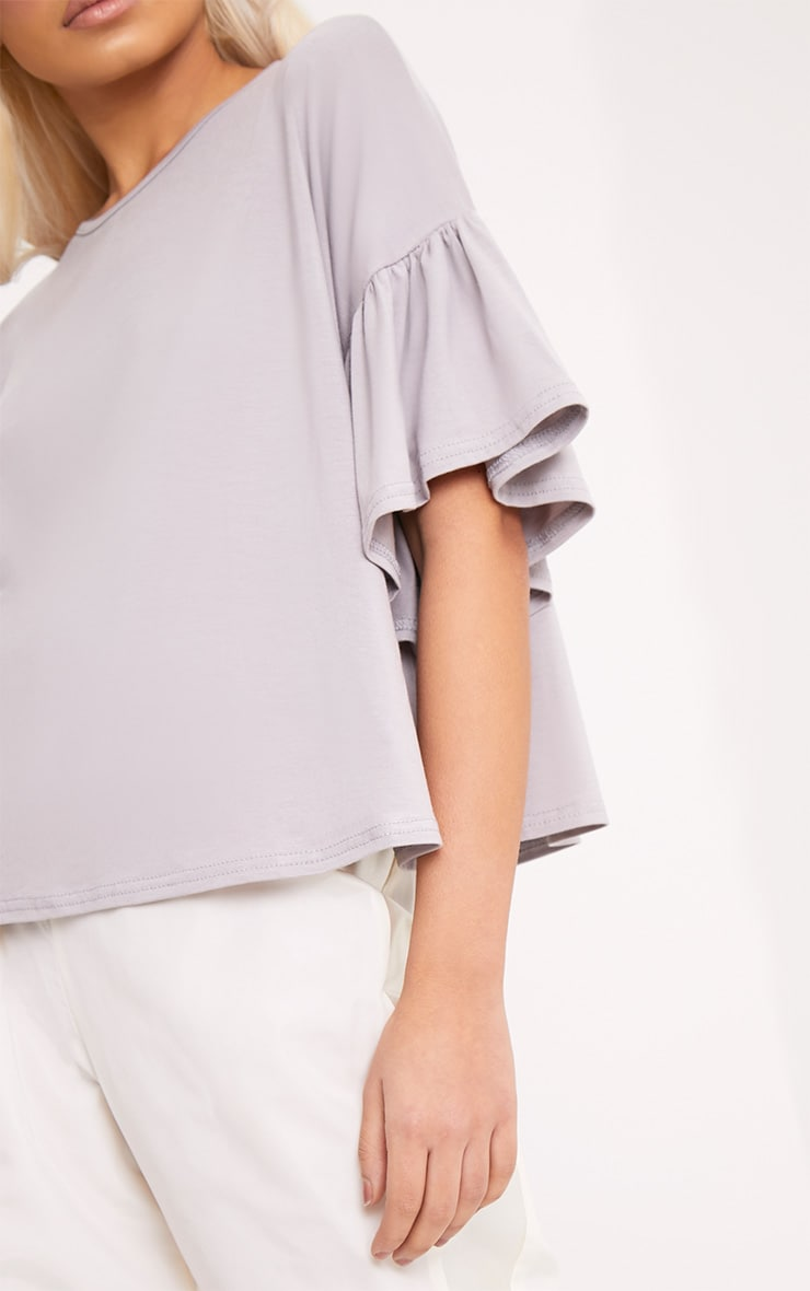 Adnie Dove Grey Frill Sleeve T Shirt  5