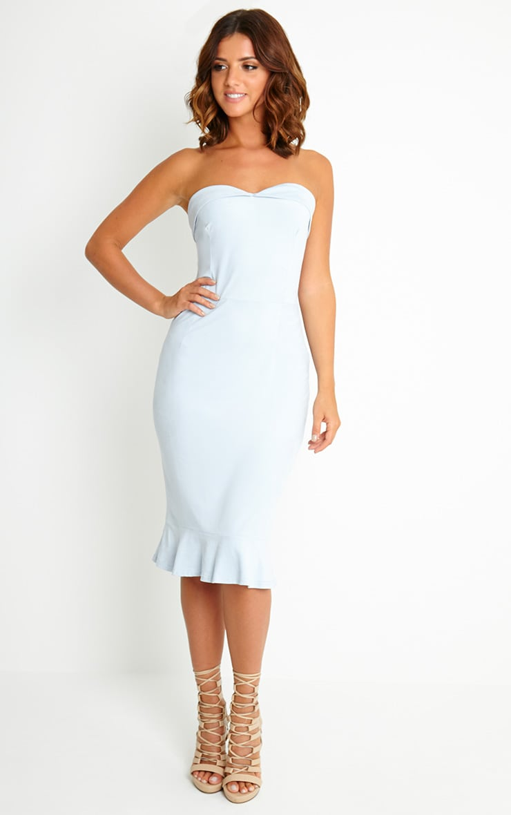 Lorena Powder Blue Suede Bandeau Midi Dress 3