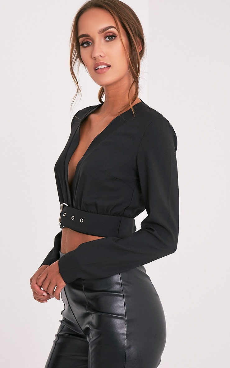 Aileen Black Buckle Plunge Crop Longsleeve Top 4