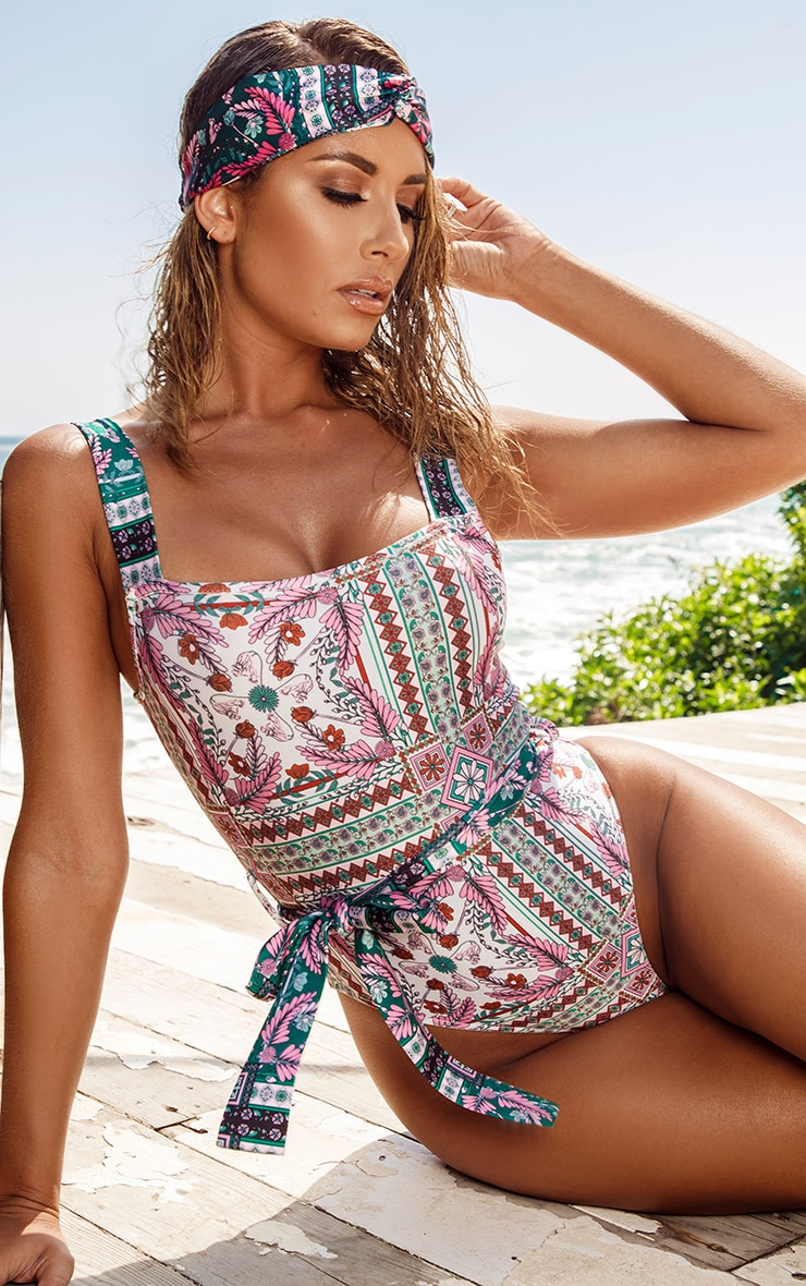 Multi Mosaic Print Belted Swimsuit