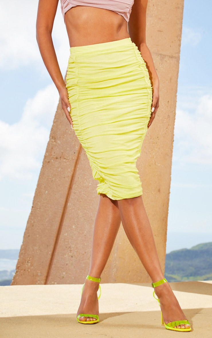 Lime Second Skin Ruched Mesh Midi Skirt 2