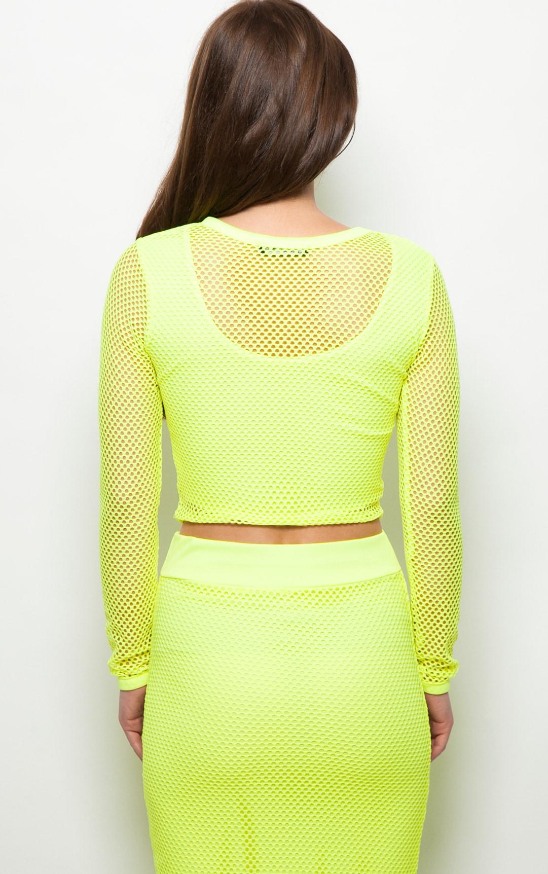 Eleanor Neon Yellow Fishnet Long Sleeve Crop Top 2