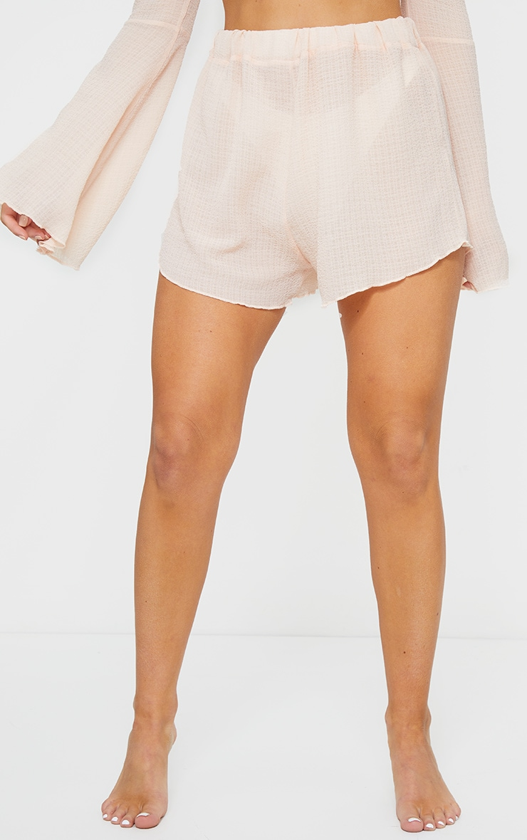 Peach Crinkle Textured Floaty Beach Shorts 2