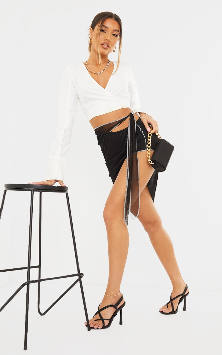 Black Contrast Stitch Asymmetric Midi Skirt 1