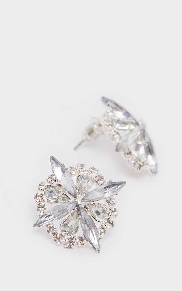 Silver Flower Diamante Stud Earrings 1