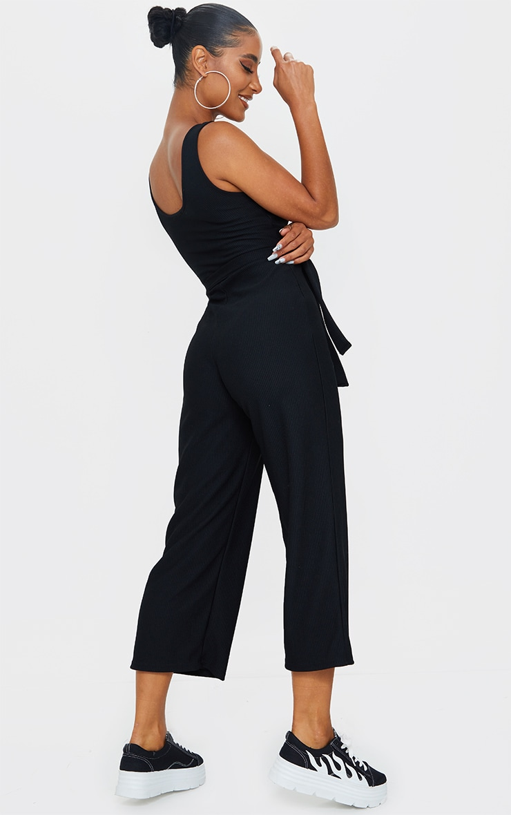 Black Thick Rib Underbust Binding Culotte Jumpsuit 2
