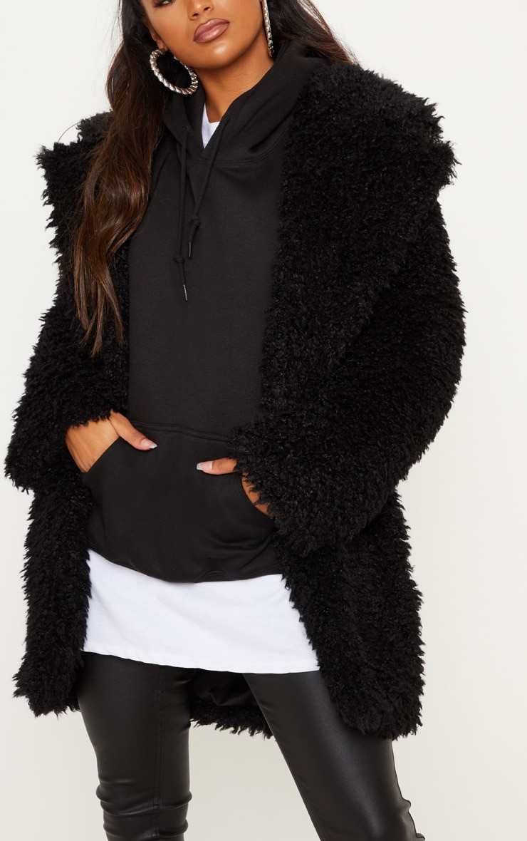 Black Teddy Faux Fur Coat 5