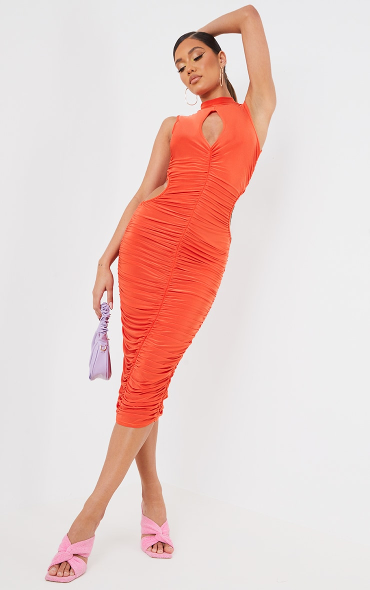 Orange Slinky High Neck Sleeveless Ruched Midaxi Dress 1