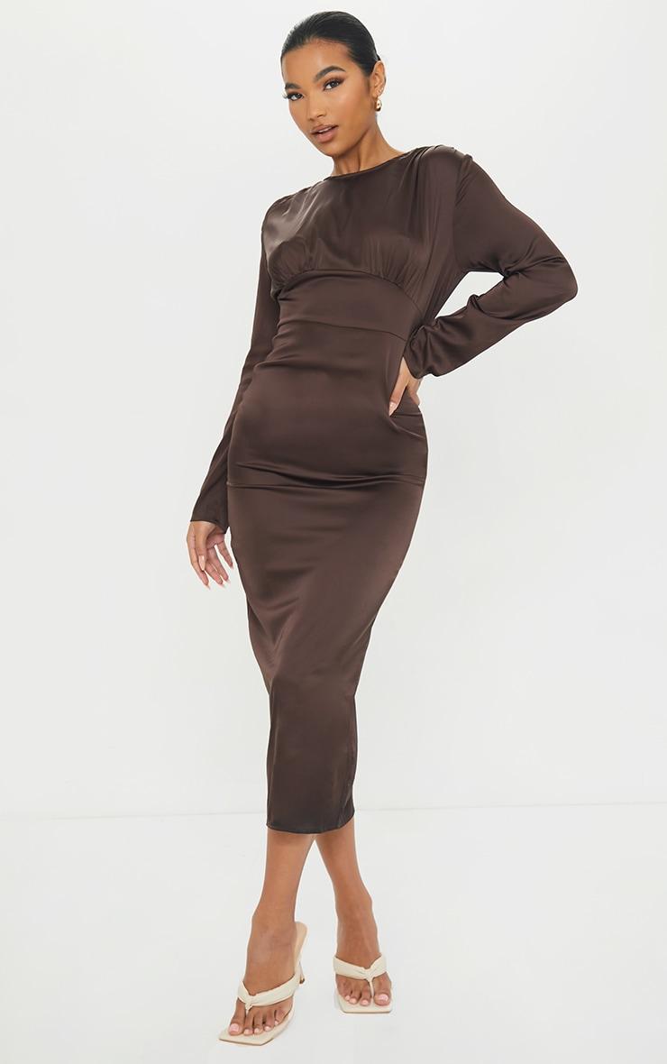 Chocolate Satin Long Sleeve Bust Seam Midi Dress 1