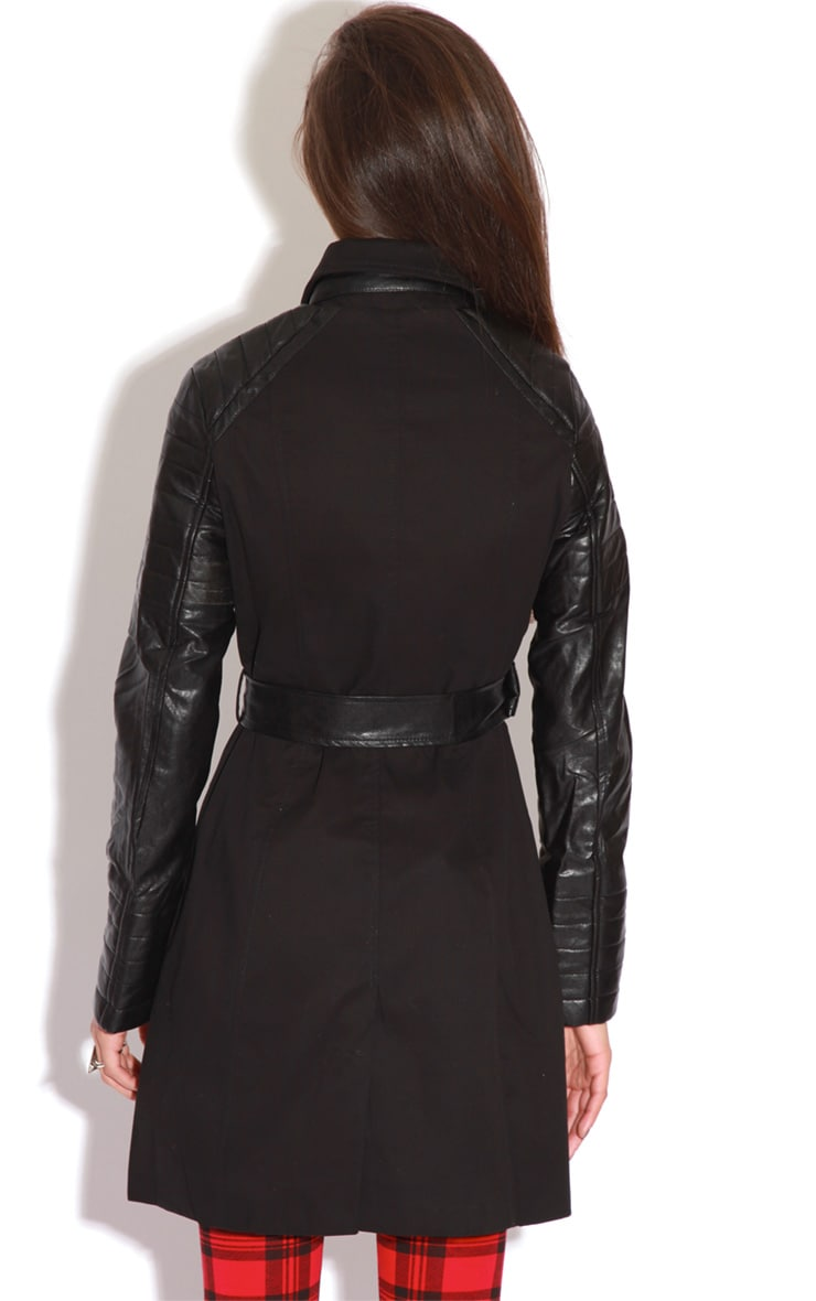 Karishma Black Leather Sleeve Trench Coat  4