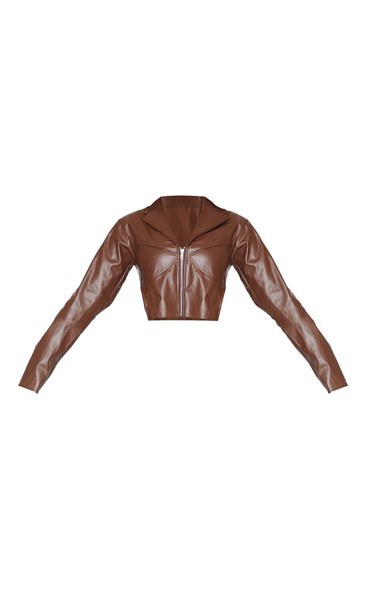 Petite Chocolate Pu Corset Detail Cropped Blazer 5