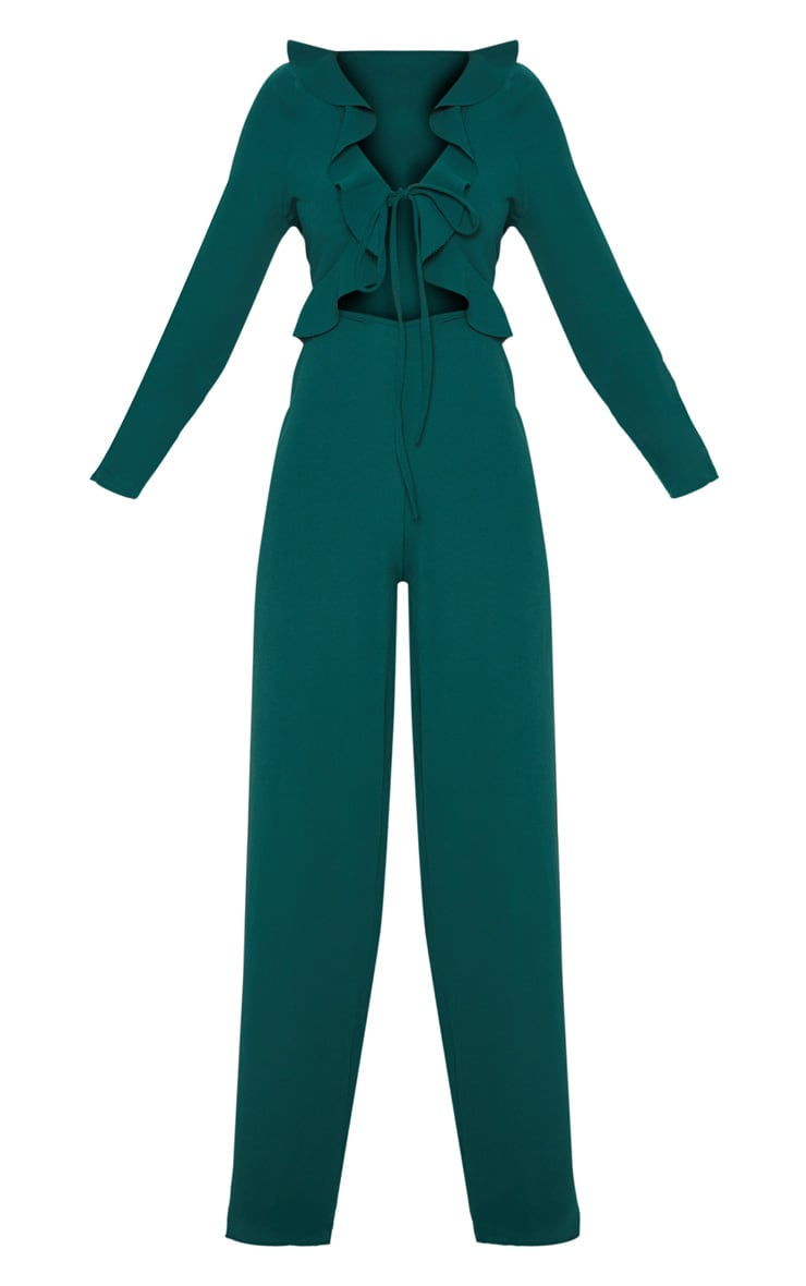 Petite Emerald Green Long Sleeve Frill Tie Front Jumpsuit 3