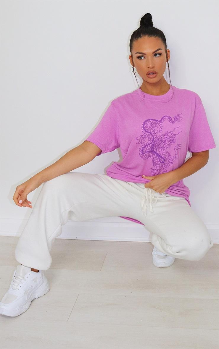 Lilac Contrast Dragon Print T Shirt 3